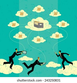 Cloud computing Businessmen connecting to cloud storage via their mobile devices. The men and storage clouds are on a separate labeled layer from the background.