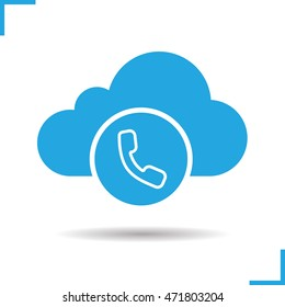 Cloud computing call center icon. Drop shadow silhouette symbol. Handset. Web storage support concept. Vector isolated illustration