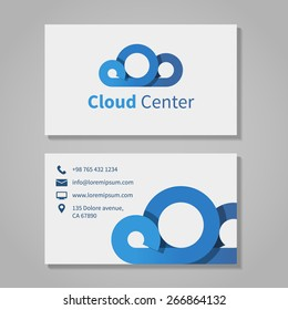 Cloud computing center business visit card template. Corporation and communication, brand company, vector illustration