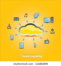 Cloud Computing concept background with a lot of icons. vector illustration.