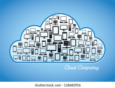Cloud Computing Concept - A Collage of Smart Phone, Laptop, Tablet, PC & Data Base inside a cloud.