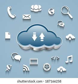 Cloud computing concept: Cloud and communication and network flat design icons on blue background. Vector illustration