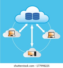 Cloud Computing Concept Computer connected to data located in the cloud