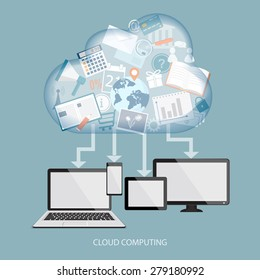 Cloud computing concept with computer, laptop, tablet and mobile phone. Vector illustration. EPS 10.