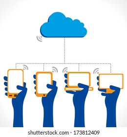 cloud computing concept , connect every device to cloud concept vector