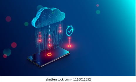 Cloud Computing Concept. Data protected exchange on smart phone or other mobile device and online storage. Cloud Technology illustration.