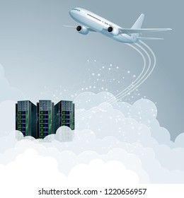 Cloud computing concept design. Aircraft and supercomputers.