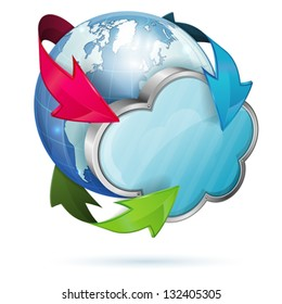 Cloud Computing Concept with Earth, vector isolated on white background