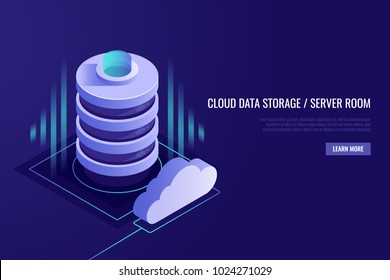 Cloud computing concept. .Web hosting and cloud technology.Data protection,database security. Vector illustration in Isometric style