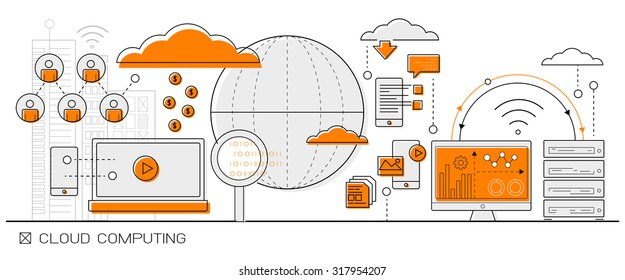 Cloud Computing concept info graphics. line icon flat design elements vector. big data