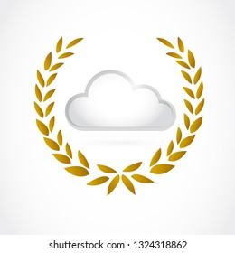 cloud computing concept inside a golden laurel. illustration design isolated over a white background.
