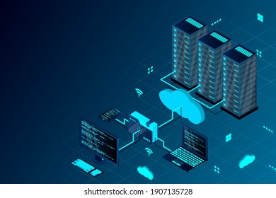 Cloud computing concept isometric vector illustration. Isometric cloud technology with datacenter. Server, desktop computer, laptop, smartphone, and folder connected to cloud service. Web hosting.