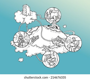 Cloud computing concept - cloud server connected to multiple devices around the globe. Hand drawn isolated vector sketch on blue background.