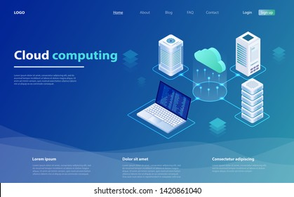 Cloud Computing Concept. Cloud computing technology users network configuration isometric advertisement poster. Big data flow processing concept, cloud database. Cloud Technology illustration.