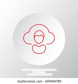 Cloud computing concept with user icon