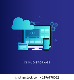 Cloud computing concept vector illustration. Online data storage, cloud database, data center, cloud computing service and technology, hosting, design for web banners and apps