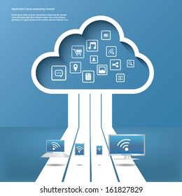 Cloud computing concept vector illustration with applications icons and devices. Eps10 vector illustration