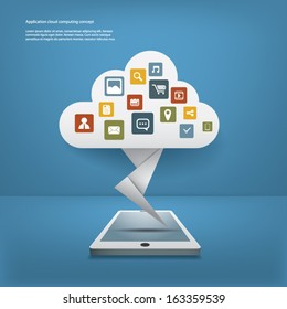Cloud computing concept vector illustration with applications icons and devices. Eps10 vector illustration for infographics or presentations