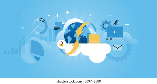 Cloud computing concept for website banner. Modern flat line design vector illustration for web design, marketing and print material.
