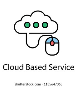 Cloud computing connected to computer mouse, cloud based service flat icon design