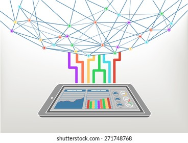 Cloud computing connected to the world wide web / internet. Vector illustration background for information technology with smart phone and information dashboard.