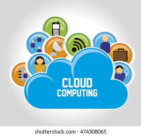 cloud computing data icon vector illustration graphic
