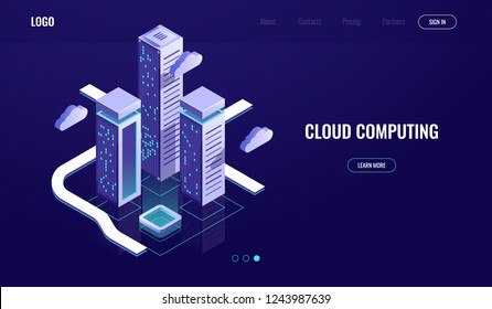 Cloud computing, cloud data storage isometric concept, modern digital urban city, data road, industry 4.0 dark neon vector