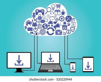 cloud computing data storage vector illustration design