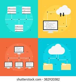 Cloud computing, data transfer, data storage, computer network. Set o flat style icons