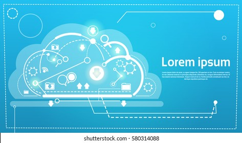 Cloud Computing Database Storage Services Web Technology Banner Flat Vector Illustration