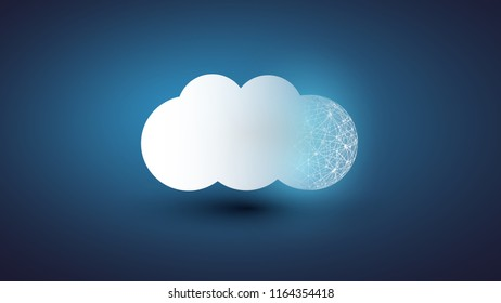 Cloud Computing Design Concept - Digital Network Connections, Technology Background with Globe