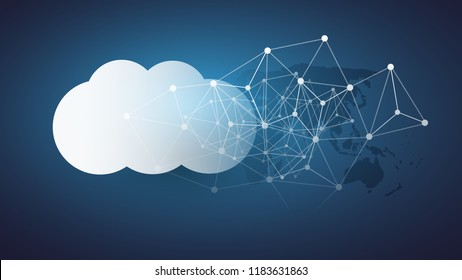 Cloud Computing Design Concept - Digital Connections, Technology Background with World Map and Network Mesh