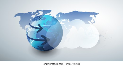 Cloud Computing Design Concept - Digital Connections, Technology Background with Arrows Around Earth Globe