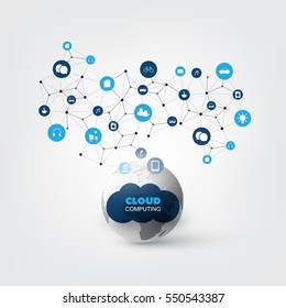 Cloud Computing Design Concept with Icons - Digital Network Connections, Technology Background