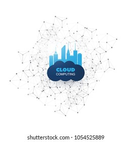 Cloud Computing Design Concept with Mesh - Digital Network Connections, Technology Background
