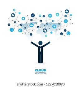 Cloud Computing Design Concept with a Standing Business Man and Icons - Digital Network Connections, Internet of Things, Technology Background