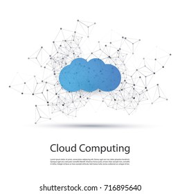 Cloud Computing Design Concept with Wireframe - Digital Network Connections, Technology Background
