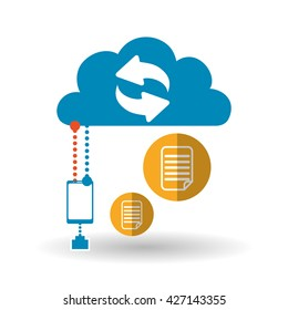 Cloud computing design. Trip icon. Flat illustration, technology vector