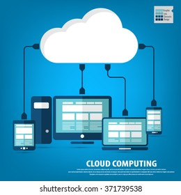 """Cloud computing - Devices connected to the """"cloud"""".EPS10 vector. All elements (background,devices, text ) are in separate layers. Fully editable."""