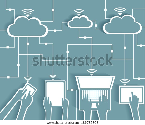 Cloud Computing Paper Cutout Stickers BYOD Devices Network - Wifi Internet Connectivity concept, EPS10 Groupés et en couches
