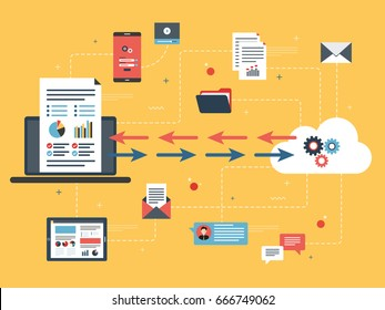 Cloud computing and financial data sharing in laptop. Concepts big data analysis, document share, cloud computing and data network, financial data and business intelligence. Flat vector illustration.