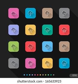 Cloud Computing flat style icons set - Vector illustration