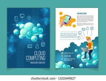 Cloud computing, global data storage, modern internet technologies vector concept illustration. Template for brochure with user sitting on abstract bubbles, with space for main info and linear icons
