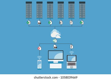 Cloud Computing Hosting vector concept illustration. Cloud computing service and technology for secure data storage.