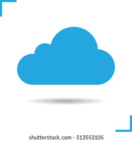 Cloud computing icon. Drop shadow silhouette symbol. Blue in the sky. Vector isolated illustration