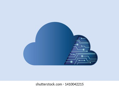 cloud computing icon with microcircuit. electronic and internet technology image