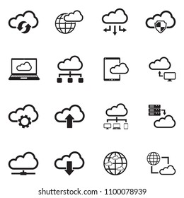Cloud Computing Icons. Black Flat Design. Vector Illustration.