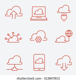 Cloud computing icons, thin line style, flat design