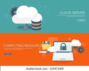 Cloud computing illustration,flat style.Data storage device,media server.Web hosting and cloud technology.Data protection,database security.Backup,copy,migrate data between cloud storage services.