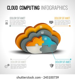 Cloud computing infographics set with 3d chart and data elements vector illustration
